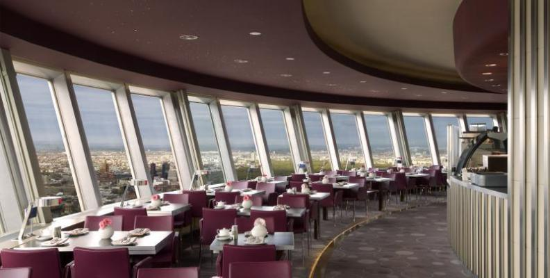 rotating restaurant in the tv tower rooftop restaurants. Black Bedroom Furniture Sets. Home Design Ideas